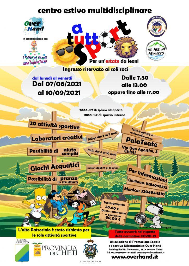 Locandina campo estivo a tutto sport per un'estate da leoni. PalaTeate Chieti dal 7 giugno 2021 al 10 settembre 2021