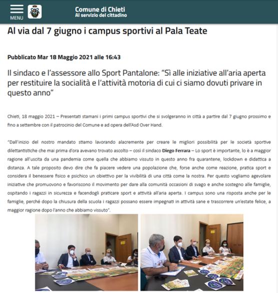 """Articolo del comune di Chieti """"Al via dal 7 giugno i campus sportivi al Pala Teate"""""""